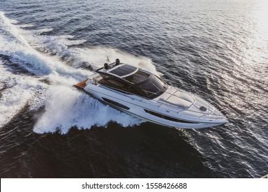luxury motor yacht in navigation, aerial view