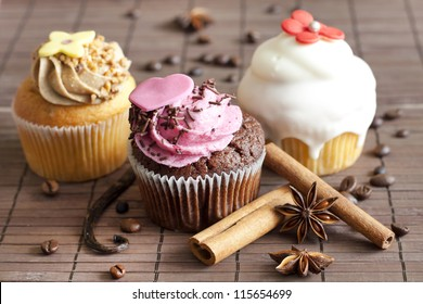 Luxury muffins with cinnamon and anise still life