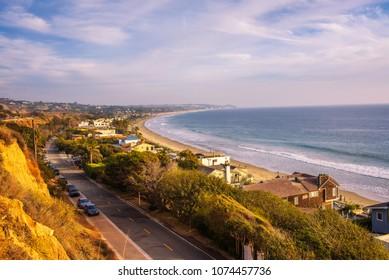 Luxury oceanfront homes of Malibu beach near Los Angeles, California