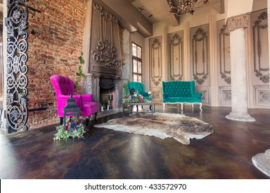 Luxury old custle interior. Large hall with columnes. beautiful furniture stylized baroque style