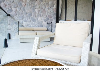 Luxury Outdoor Sofas At The Balcony Of Room. Resort Style Decotation With  Steel And Rock