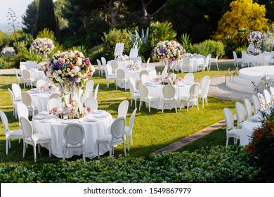 Luxury outdoor wedding celebration in the sunny day