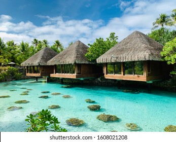 Luxury over water spa bungalows. Bora Bora