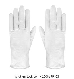 Luxury pair of white leather gloves isolated
