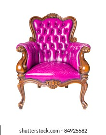 luxury pink leather armchair isolated