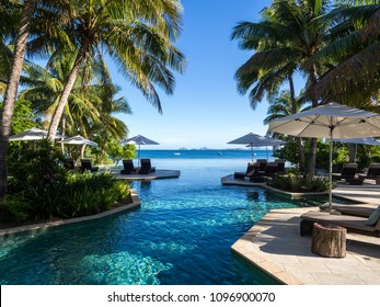 Luxury Poolside Landscape View of Infinity Pool Out to Sea with Sun Loungers Palm Trees and Umbrellas
