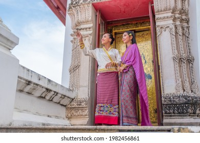 Luxury portrait of two beautiful Thai girl in traditional thai costume, identity culture of Thailand, identity culture of Asia