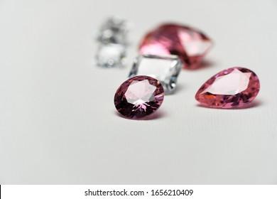 luxury precious pink white gemstone for jewelry on white fashion background
