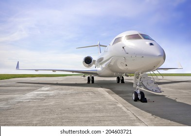 Luxury Private Jet Airplane for business flights - Side view