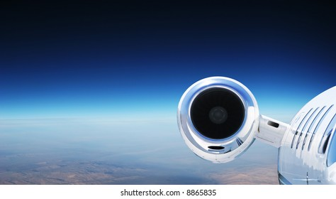 Luxury Private Jet Cruising at High Altitude - great for banner