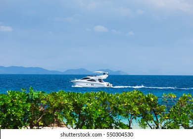 A luxury private motor yacht on tropical sea , Maiton Island,Phuket,Thailand