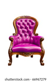 luxury purple armchair isolated on white background