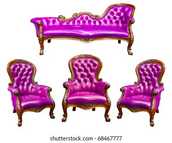 luxury purple leather armchair isolated