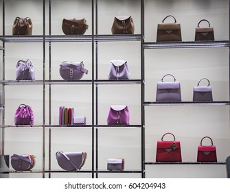 Luxury purses in a fashion store in London