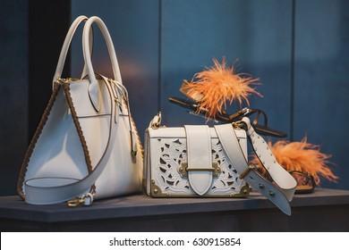 Luxury purses in a store in London.