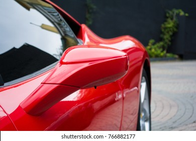 luxury red car details view elegant and beautiful