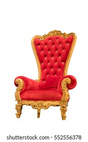 luxury red velvet and gold armchair isolated on white background with clipping path