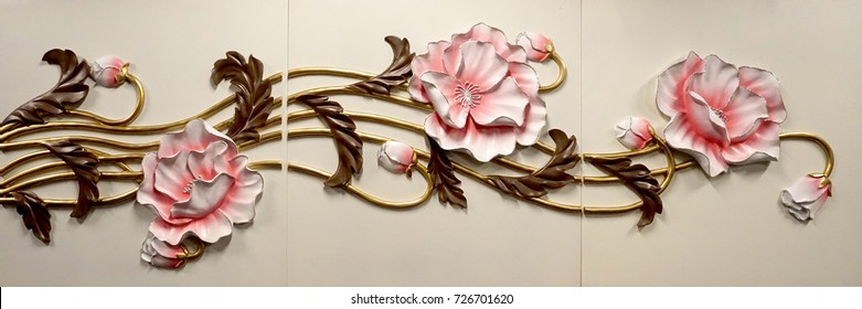 luxury resin relief of peony. carved flower relief.
