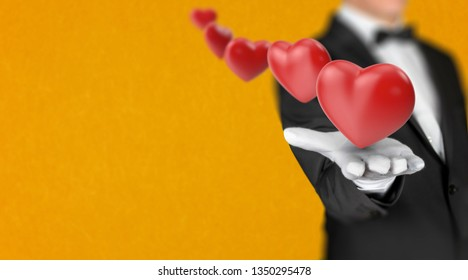 Luxury restaurant waiter offers 3D render hearts in his hand