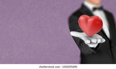 Luxury restaurant waiter offers a 3D render heart symbol in his hand
