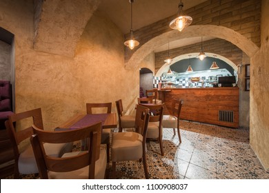 Luxury and retro decorated interior of restaurant