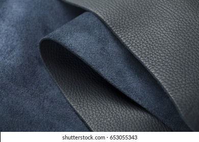 Luxury Roll of colored leather and suede or Leather background