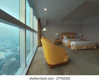 Luxury room with big panoramic window