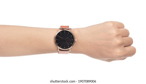 luxury rose gold watches for women isolated on a white background