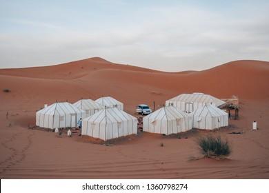 a luxury sahara desert camp in th erg chebli desert in Morocco, Africa
