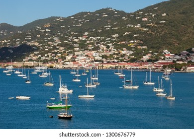Luxury sailboats and yachts in the harbor in St. Thomas, USVI