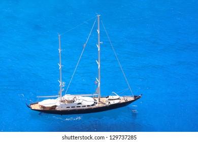 Luxury sailing boat on azure sea