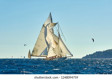 Luxury sailing yacht under sail. Yachting sport  competition