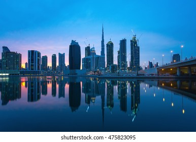 Luxury scyscrapers in center of Dubai at the sunset,Unidet Arab Emirates