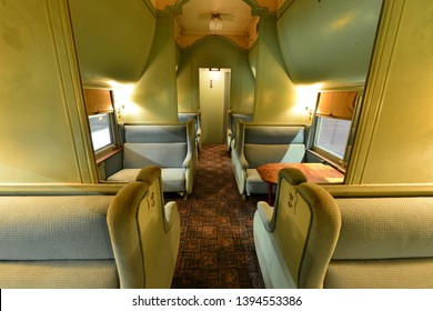 The luxury seating inside an American Pullman car.