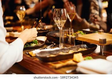 Luxury served evening banquet at modern restaraunt