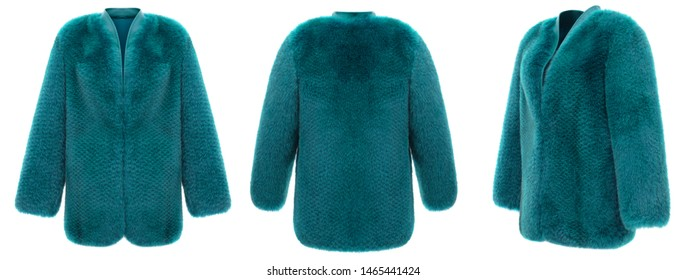 Luxury set, female turquoise bright short wide fur coat, leather collar, ghost mannequin, front view, three-quarter and back, mockup, clipping, isolated on white background
