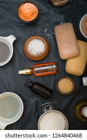 luxury Set of spa products with accessoires on black background