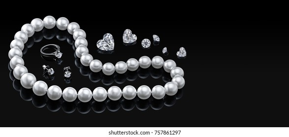 Luxury set white pearl necklace and jewelry with diamonds in ring, earrings on black background. Blank  template for your design copy space. Valentine or love day concept pearl necklace  shape heart.