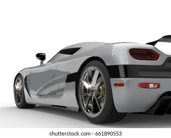 Luxury Silver Super Sports Car   Rear Wheel Closeup Shot   3D Illustration