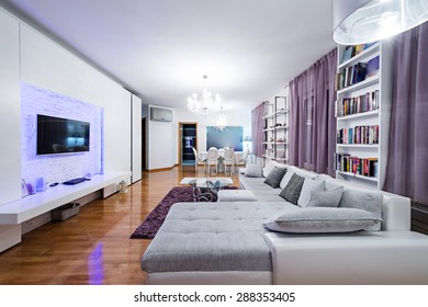 Luxury specious living room interior with dining area
