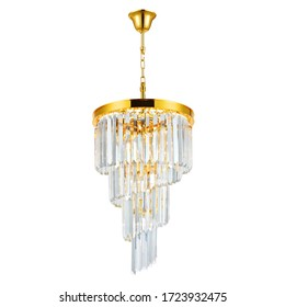 Luxury Spiral Chandelier 9 Lights Isolated on White Background. Modern Pendant Ceiling Light Fixture in Gold Brass Finish and Crystals. Vintage Hanging Lights. Classic Pendant Sconce Lighting Lamp