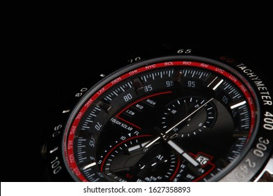 Luxury  sport chronograph black Analog Men's Watch silver red steel for men luxury on black background - detail view
