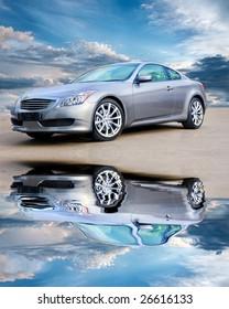Luxury sports car against bright cloudy sky