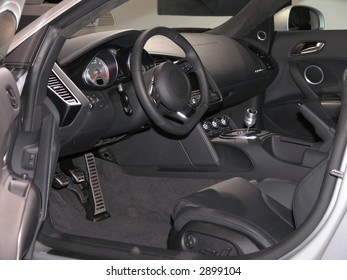 Luxury Sports car Interior with steering wheel & shifter