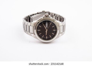 Luxury steel watch isolated on a white background