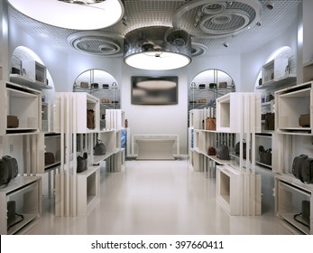 Luxury store interior design art deco style with hints of Contemporary. Room white boutique with lots of shelves. Shop for the sale of bags on the shelf of handbags. 3D render.