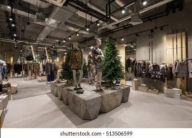 luxury store interior winter new year tree Christmas