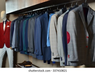 A luxury store with mens clothing.