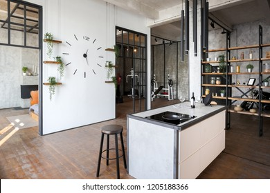 luxury studio apartment with a free layout in a loft style in dark colors. Stylish modern kitchen area with an island, cozy bedroom area with fireplace and personal gym