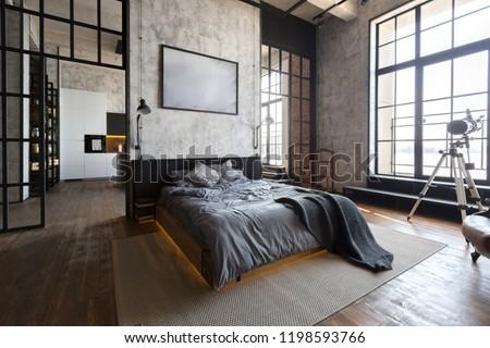Foto stock a tema luxury studio apartment free layout loft for Studio interior design brescia